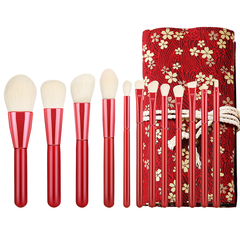 Wen Xue Jing Xue makeup brush 12 inexpensive brush set, blush brush powder powder brush, beginners foundation brush and air bag.