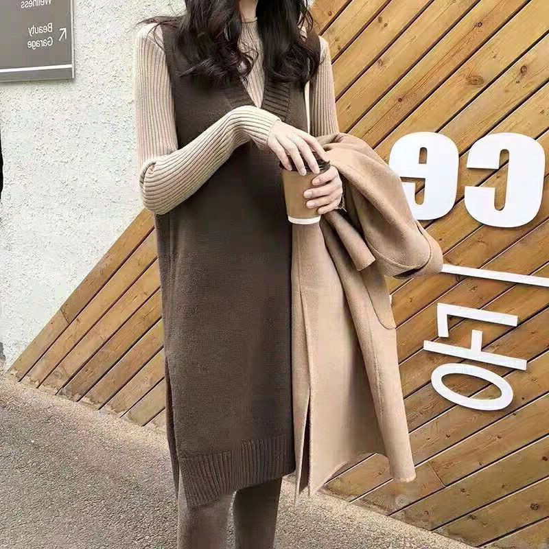 Long knitted vest womens spring and autumn large cashmere jacket loose sleeveless sweater vest