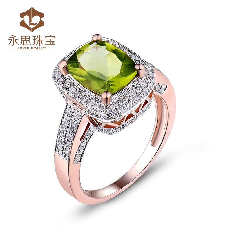 Yongsi jewelry 2 carat natural green olivine 48 natural South Africa Diamond Ring 18k rose gold ring