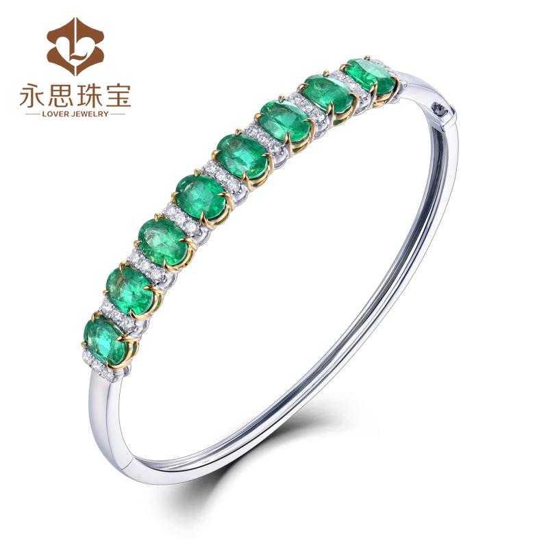 Yongsi jewelry 5.86 carat 18K gold natural emerald bracelet 64 point diamond color gem color treasure Bracelet