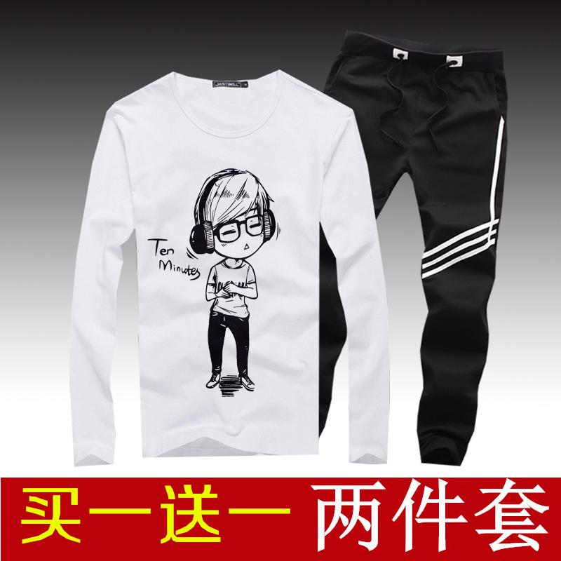 新款便宜包邮9.9元九块九男装修身潮韩版T恤长袖9块衣服10元套装