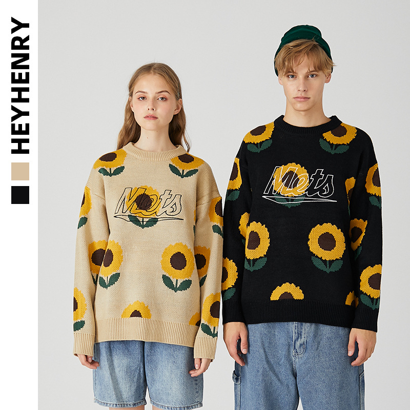 Henry harbour breezy couple BF sunflower sweater mens and womens new fashion in autumn and winter 2020