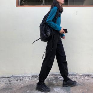 战术帅气ins潮直筒宽松束脚高腰显瘦春秋九分黑运动工装 子女酷 裤