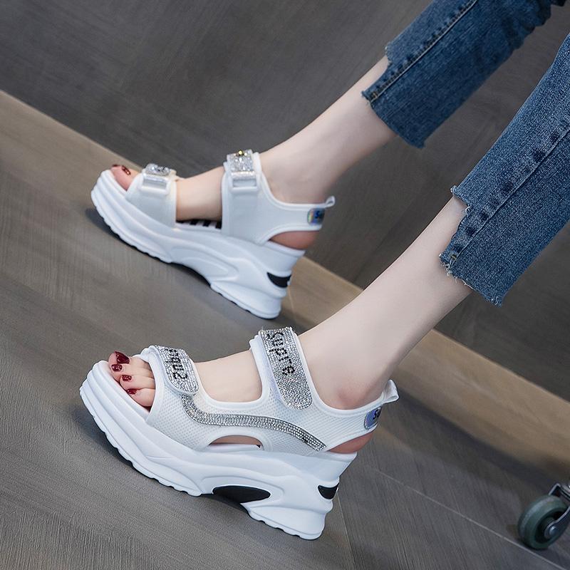 涼鞋2020年新款女厚底松糕水鉆坡跟羅馬時裝運動百搭仙女風ins潮