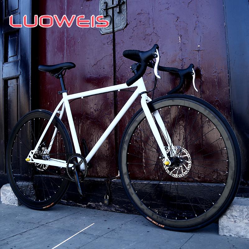 洛维斯死飞自行车男公路赛车碟刹学生女单车跑车24寸26寸实心胎
