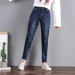 新款牛仔哈伦裤女装高腰休闲宽松春秋2021年显瘦直筒老爹萝卜裤子