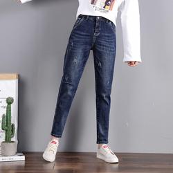 新款牛仔哈伦裤女装高腰休闲宽松秋季2020年显瘦直筒加绒萝卜裤子