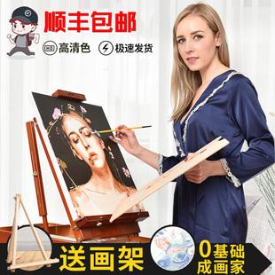 数字油画油彩减压画diy照片填色手工手绘涂色定制装 水彩自 饰数码