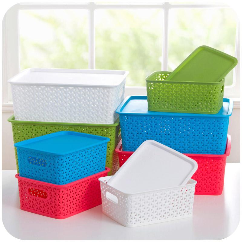 左遇藤編塑料桌麵收納箱有蓋玩具衣物整理儲物鏤空筐收納盒收納筐