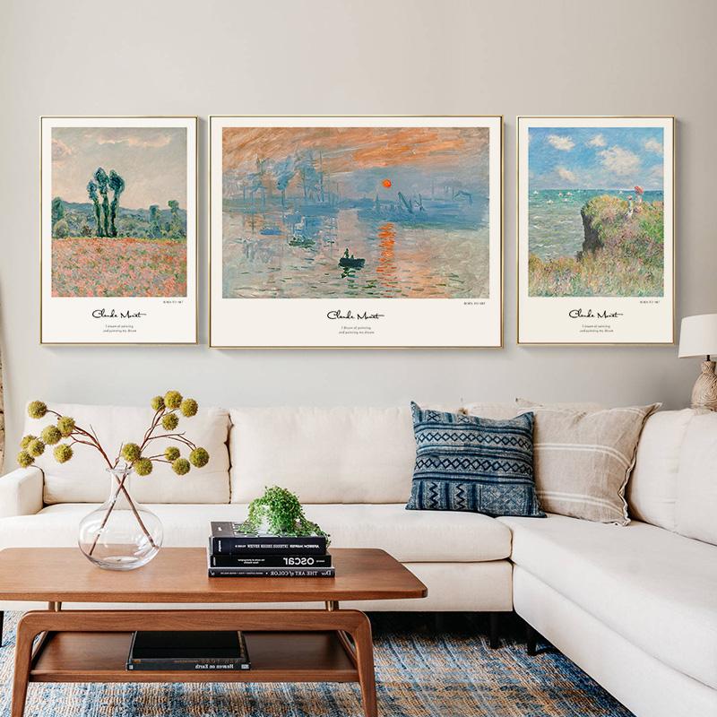 莫奈名画日出印象派现代客厅装饰画质量好不好