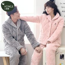 Coral velvet cotton pajamas for women in winter three-layer thick couple pajamas flannel household clothes cardigan warm suit