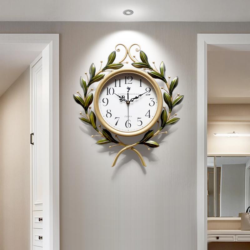 美式装饰大气挂钟客厅艺术品静音挂表创意时尚潮流欧式家用钟表 Изображение 1