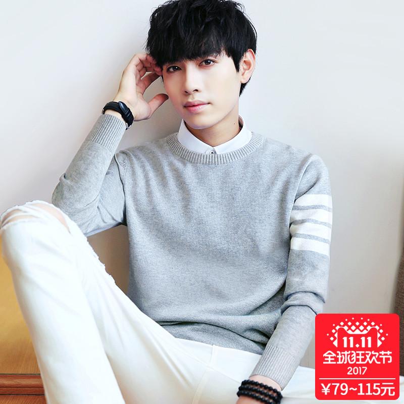 Мужской свитер корейский круглый вырез свитер утолщённый с дополнительным слоем пуха зимний сезон пальто длинный рукав свитер тонкий мужской линия одежда