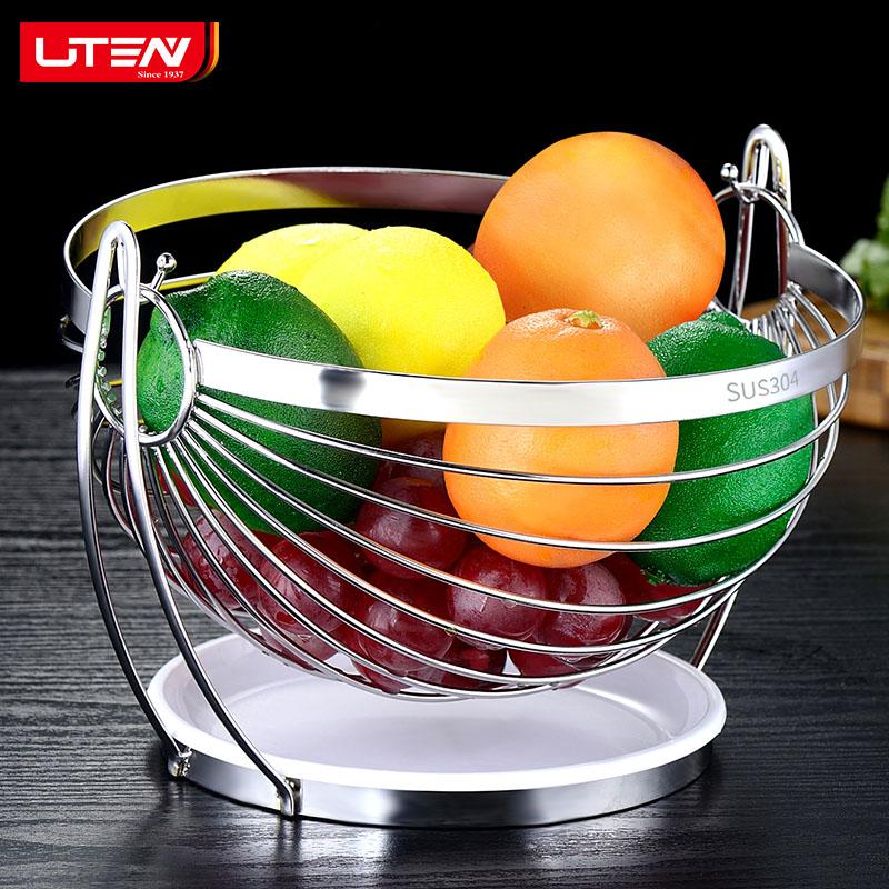 不锈钢水果篮果篮果盆客厅茶几家用创意现代简约铁艺摇摆水果盘子