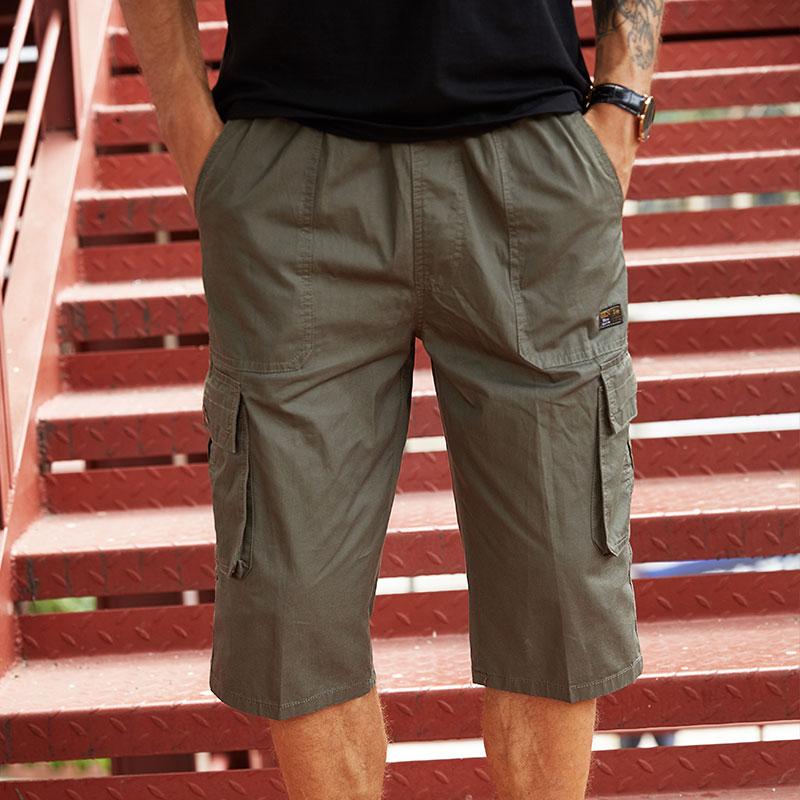 中老年男士七分裤夏季中年人纯棉短裤宽松外穿7分爸爸马裤大裤衩五折促销