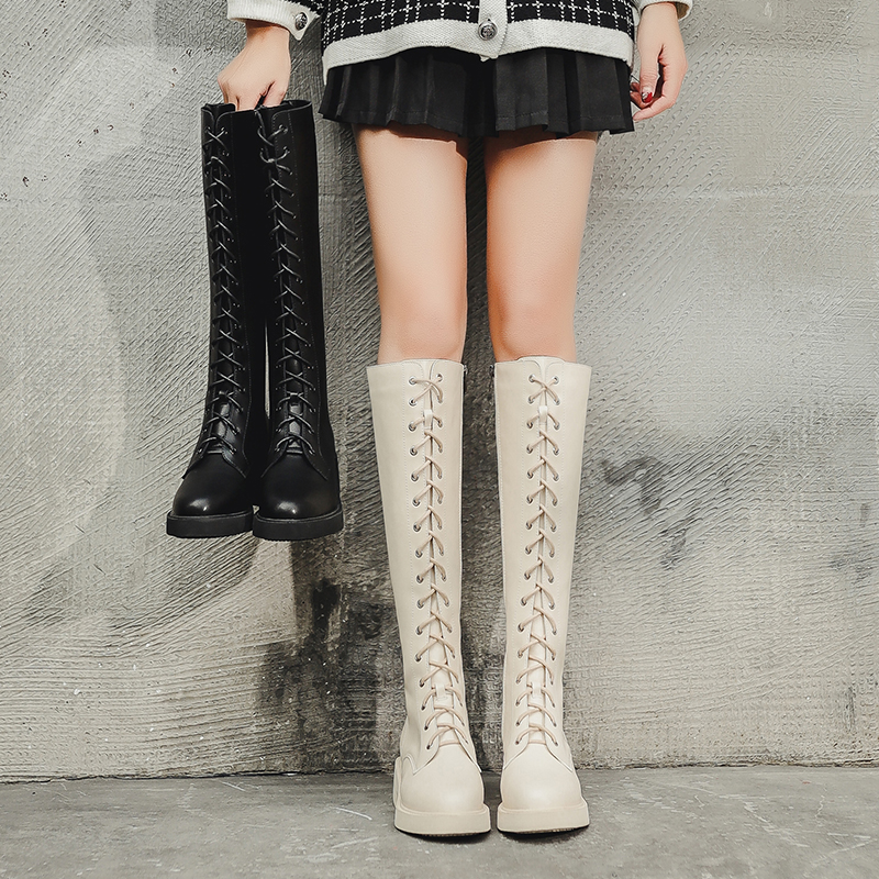 Wnd boots womens fall / winter 2020 new knee length long tube lace up side zipper high tube Knight boots Martin boots