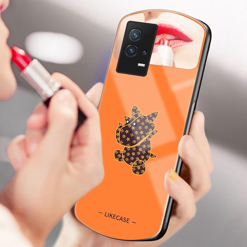 潮牌花纹牛牛vivoiQOO8手机壳欧美女款iqoo8pro镜子玻璃壳iQOO8补妆镜子5G老花卡通