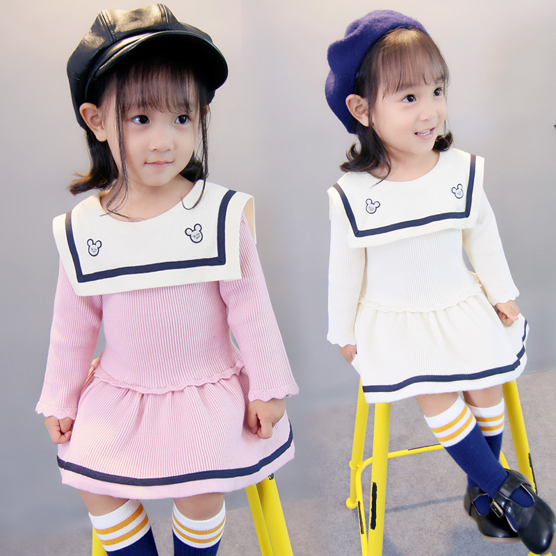 Childrens wear 2017 new Korean girls Sweater Dress Girls autumn and winter fashion knitted princess skirt
