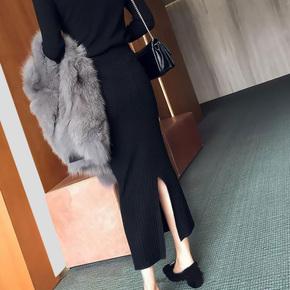 开叉包臀女针织半身裙秋冬裙子一步毛线裙中长款显瘦气质冬厚长裙