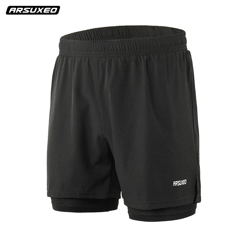 运动短裤男士夏季速干跑步裤双层透气内衬健身训练裤马拉松短裤薄