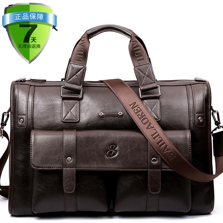 Young and middle-aged super large capacity business bag handbag leather bag mens horizontal travel mens bag business office bag