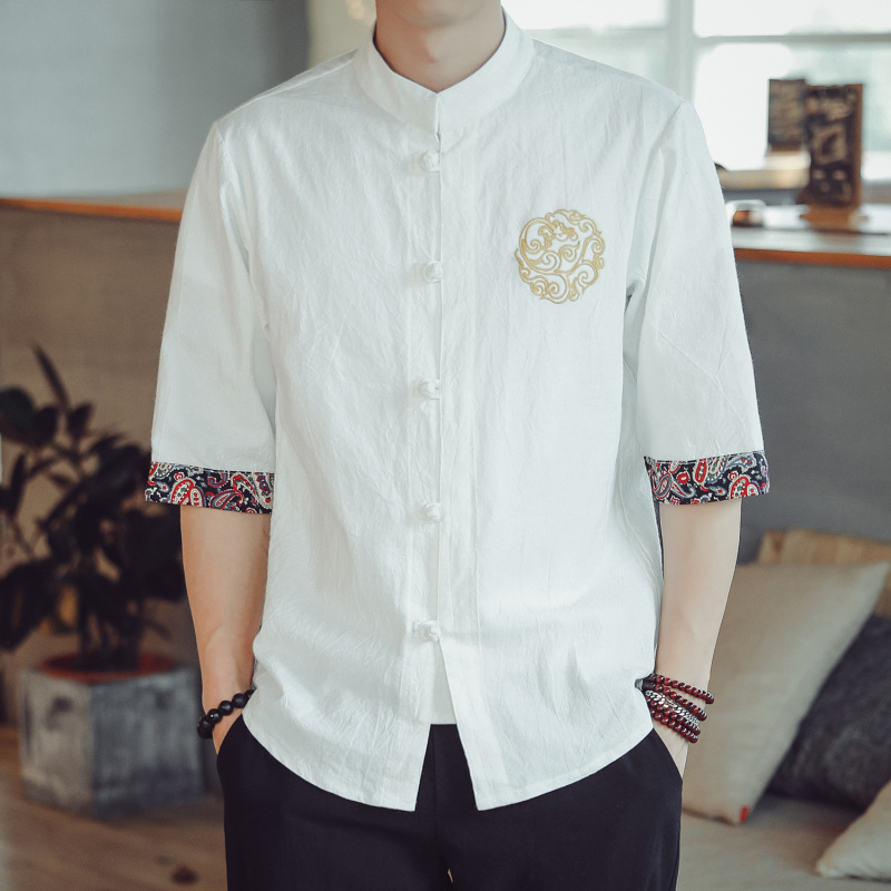 Chinese style short sleeve shirt mens and womens Health Center Chinese medicine acupuncture physiotherapy foot massage technician clothing cotton linen work clothes