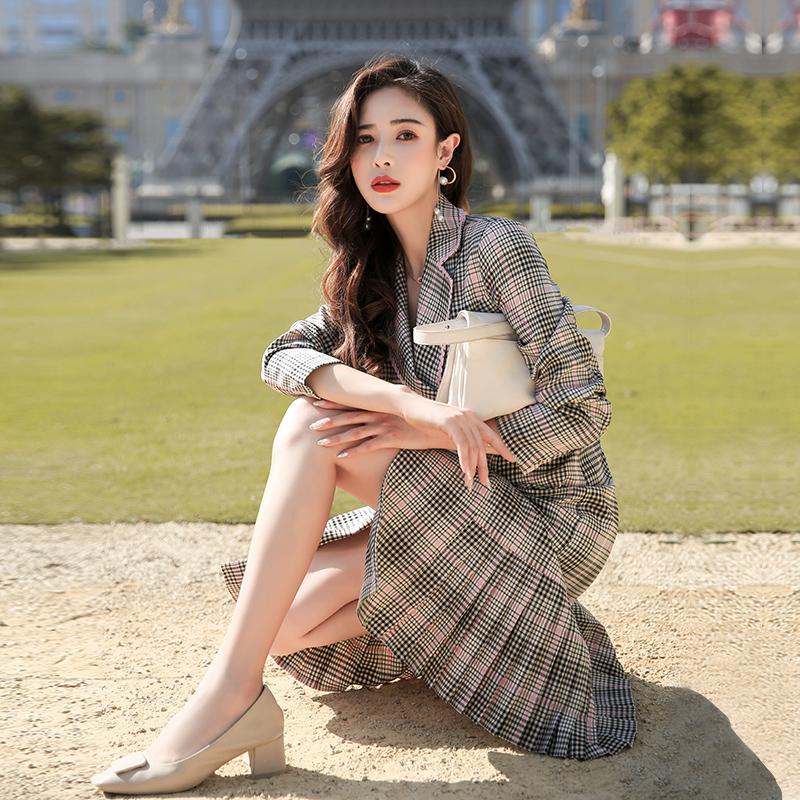 2020年新款女装春季仙女裙长款超仙法式复古西装裙格子连衣裙流行
