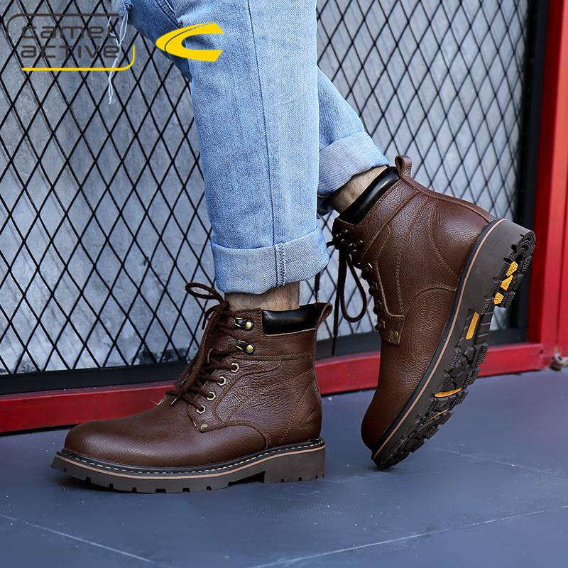 德国骆驼动感男靴真皮靴子男士高帮靴英伦高帮男鞋加绒保暖马丁靴