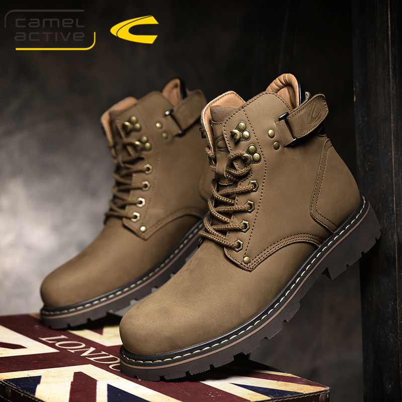 German camel dynamic mens boots leather Martin boots medium high top short boots Plush warm cotton shoes tooling boots tide boots