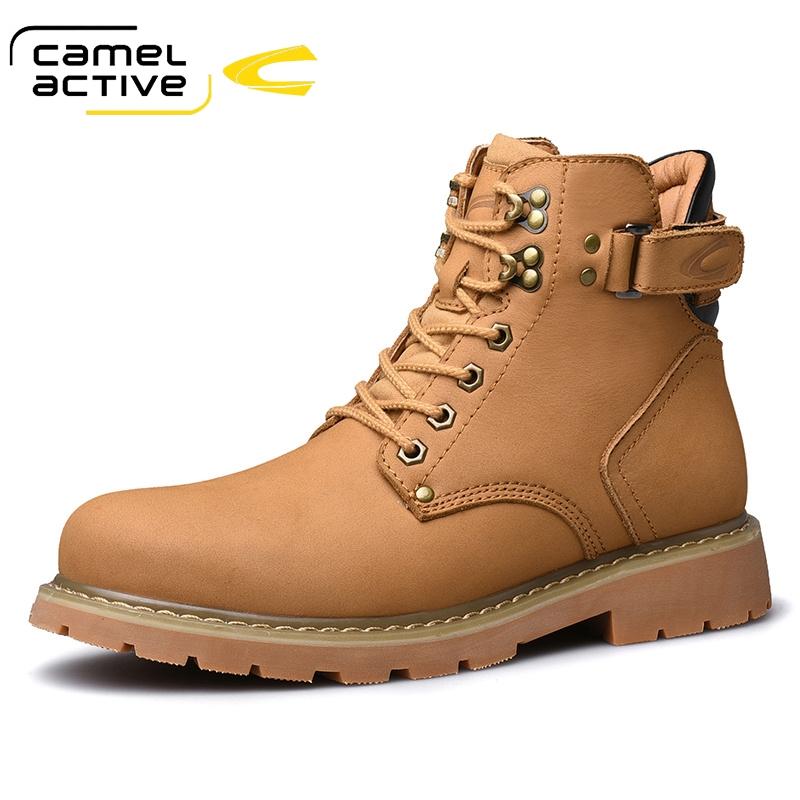 骆驼动感冬季加绒保暖男靴子高帮工装靴户外雪地靴男士棉鞋马丁靴