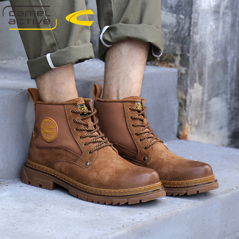 German camel dynamic Martin boots mens shoes leather autumn British style high top shoes mens boots casual shoes mens Boots