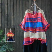 夏装新款棉麻短袖T恤女宽松大码撞色条纹显瘦文艺亚麻五分袖上衣