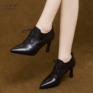 高跟鞋女2020年新款秋季细跟深口单鞋系带真皮鞋秋冬季加绒女鞋子