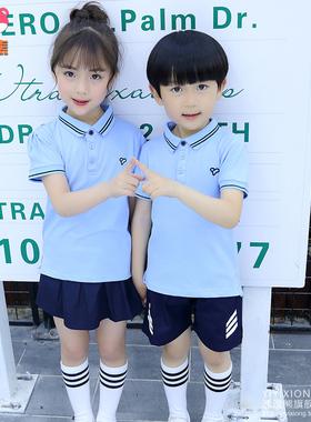 小学生校服夏装英伦学院风纯棉儿童班服夏季套装幼儿园园服毕业服
