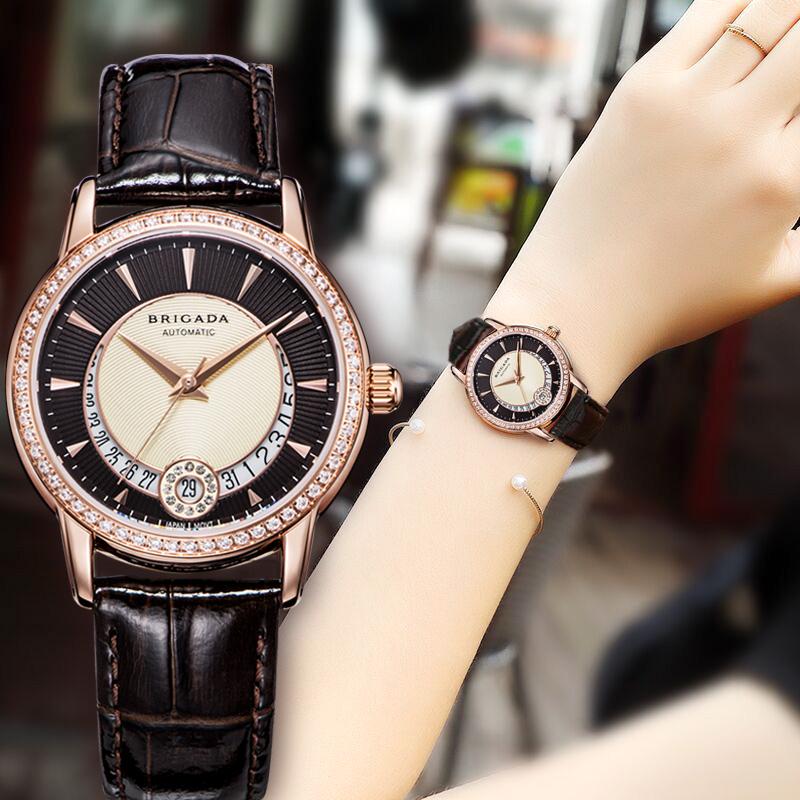 宝茄达正品女士手表女机械表镶钻经典时尚潮流防水真皮女款手表