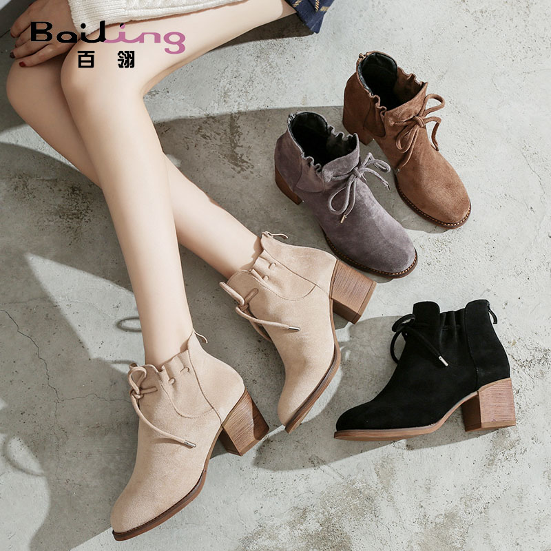 2020 British shoes women's spring and autumn single Boots New Women's boots Martin boots ankle boots nude color middle heel thick heel short boots