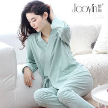 Spring and autumn months, pure cotton kimono, pregnant women's pajamas, October and November, postpartum nursing home clothes, autumn and winter