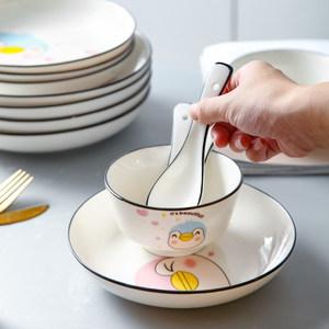 日式餐具陶瓷盘子碗碟乔迁礼物家用卡通组合4人吃饭碗盘勺子套装