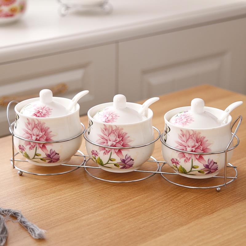 调料罐陶瓷调味罐厨房家用调料盒套装组合装收纳油盐味精罐密封盖