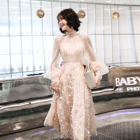 小晚礼服敬酒服新娘2021新款春秋订婚回门连衣裙宴会气质平时可穿