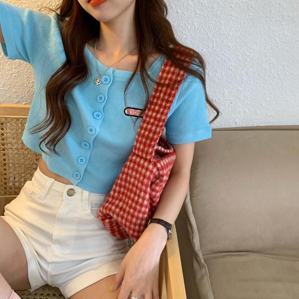 TS47452#少女上衣短款露脐刺绣针织衫女夏季宽松短袖薄款开衫