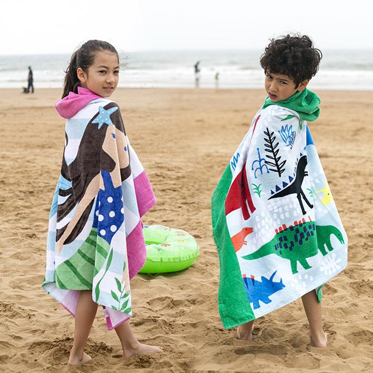 子供用の大きいサイズの純綿の帽子と水泳タオルの漫画です。
