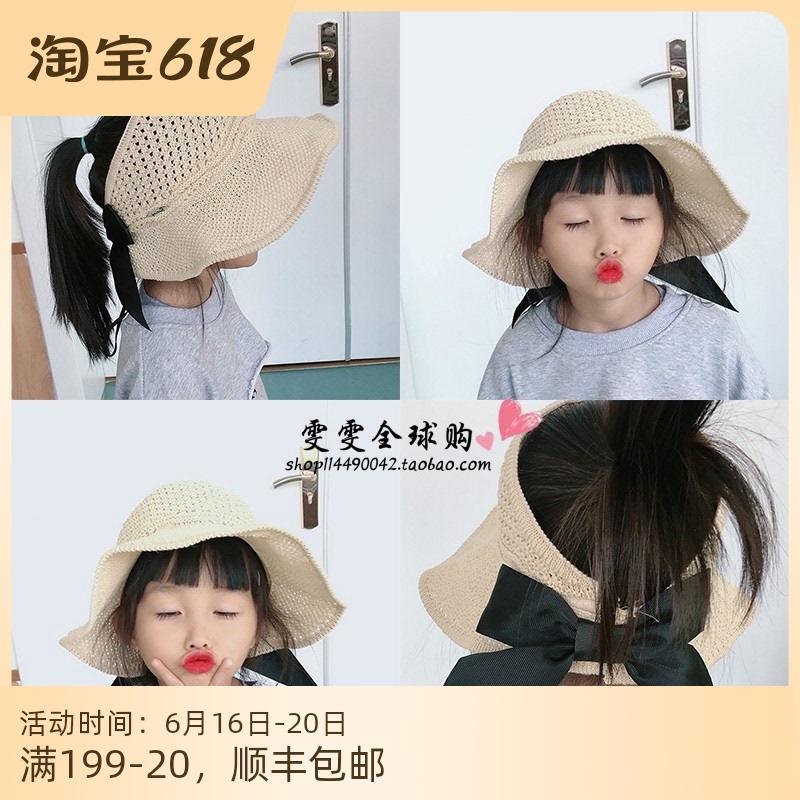 日本代购蝴蝶结儿童空顶帽亲子草帽女童夏季大檐遮阳防晒宝宝帽子