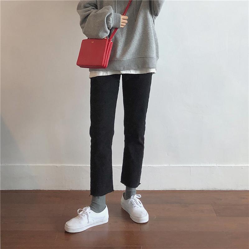 2020春装大码女裤黑色九分裤200斤 胖妹妹百搭显瘦直筒牛仔裤宽松图片