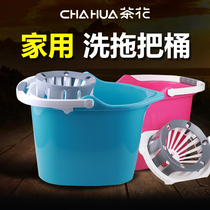 Camellia Mop barrel rotating rectangular household single barrel mop drag bucket plastic manually thickened drag ground squeeze bucket