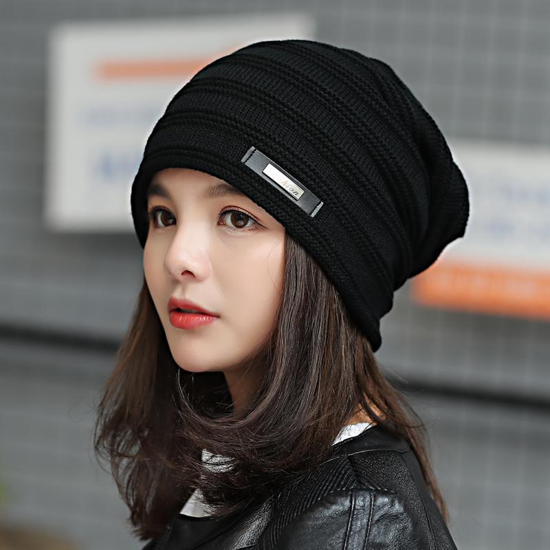 帽子女秋冬季包头帽韩版潮套头帽堆堆帽休闲针织头巾帽睡帽月子帽