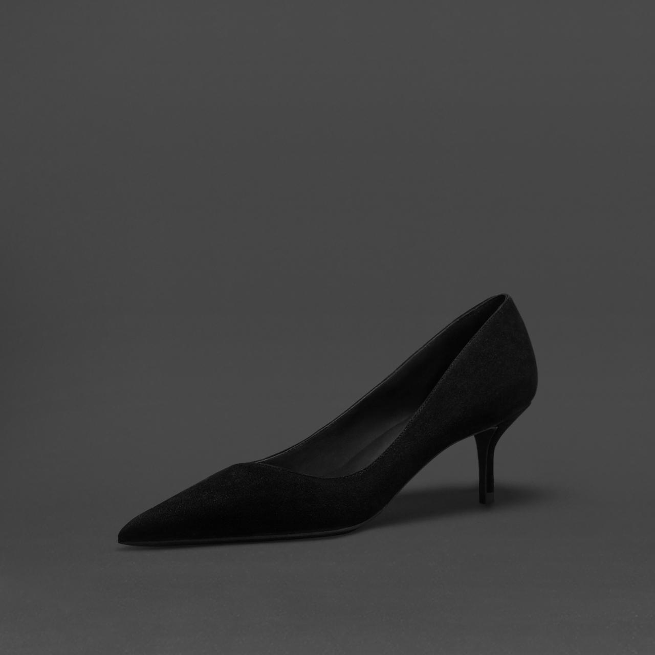 社交女鞋黑色羊猄皮尖头小高跟鞋浅口职业通勤百搭气质细中跟单鞋图片