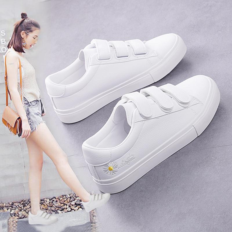 魔术贴小白鞋2020新款女鞋夏季薄款百搭学生鞋子女chic板鞋小雏菊图片