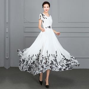 2021夏超长白色雪纺碎花连衣裙仙气质减龄大摆长裙收腰显瘦沙滩裙
