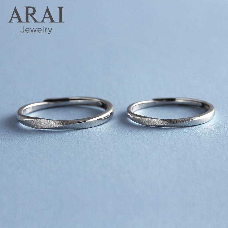 Arai original niche design pure silver couple ring mens and womens simple single ring